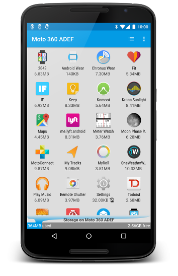 WAM app list on Nexus 6