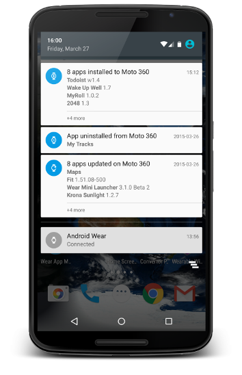 WAM notifications on Nexus 6
